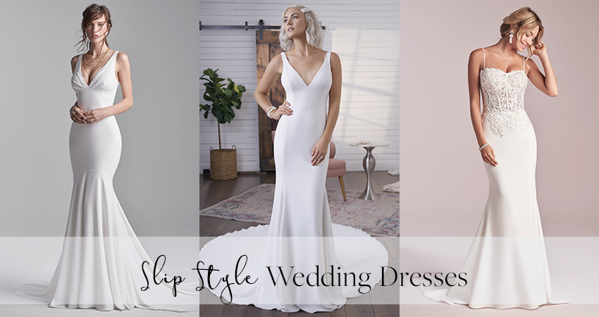 Models Wearing the Best Slip Style Wedding Dresses by Maggie Sottero for Relaxed Brides