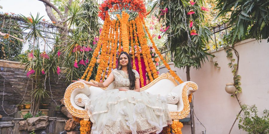 With vibrant marigolds & fairy lights, this home-based lockdown mehndi raised the bar high with its colorful decor - WeddingSutra