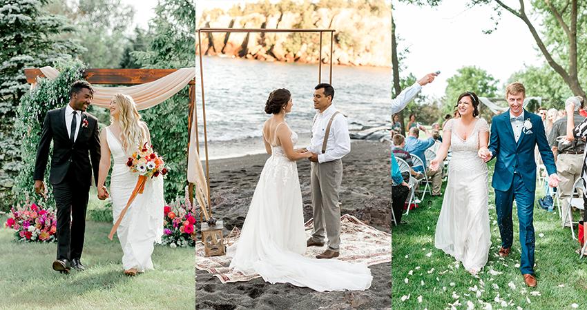 Collage of Three Different Couples Getting Married at Micro Weddings