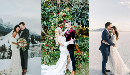 Collage of Brides Wearing Winter Wedding Dresses by Maggie Sottero